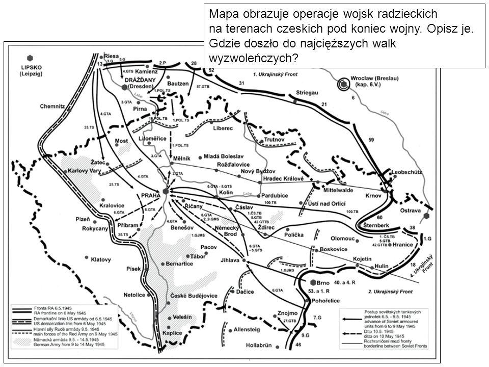 Mapa obrazuje operacje wojsk radzieckich na terenach czeskich pod koniec wojny.
