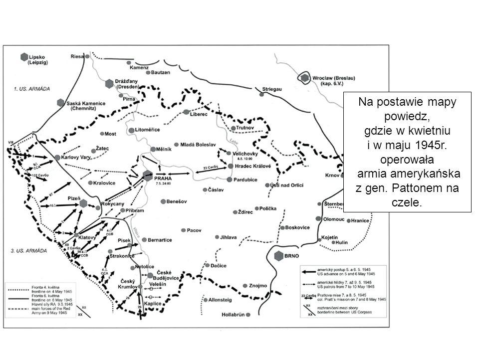 Na postawie mapy powiedz, gdzie w kwietniu i w maju 1945r.