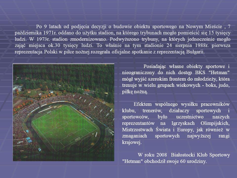 Po 9 latach od podjęcia decyzji o budowie obiektu sportowego na Nowym Mieście, 7 października 1971r. oddano do użytku stadion, na którego trybunach mo