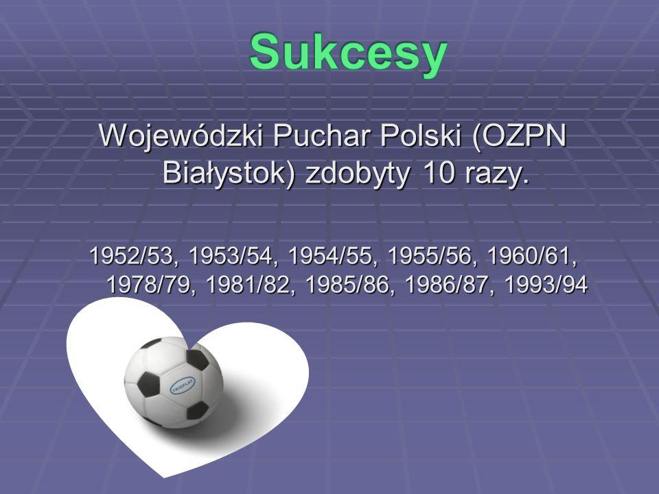 Wojewódzki Puchar Polski (OZPN Białystok) zdobyty 10 razy.