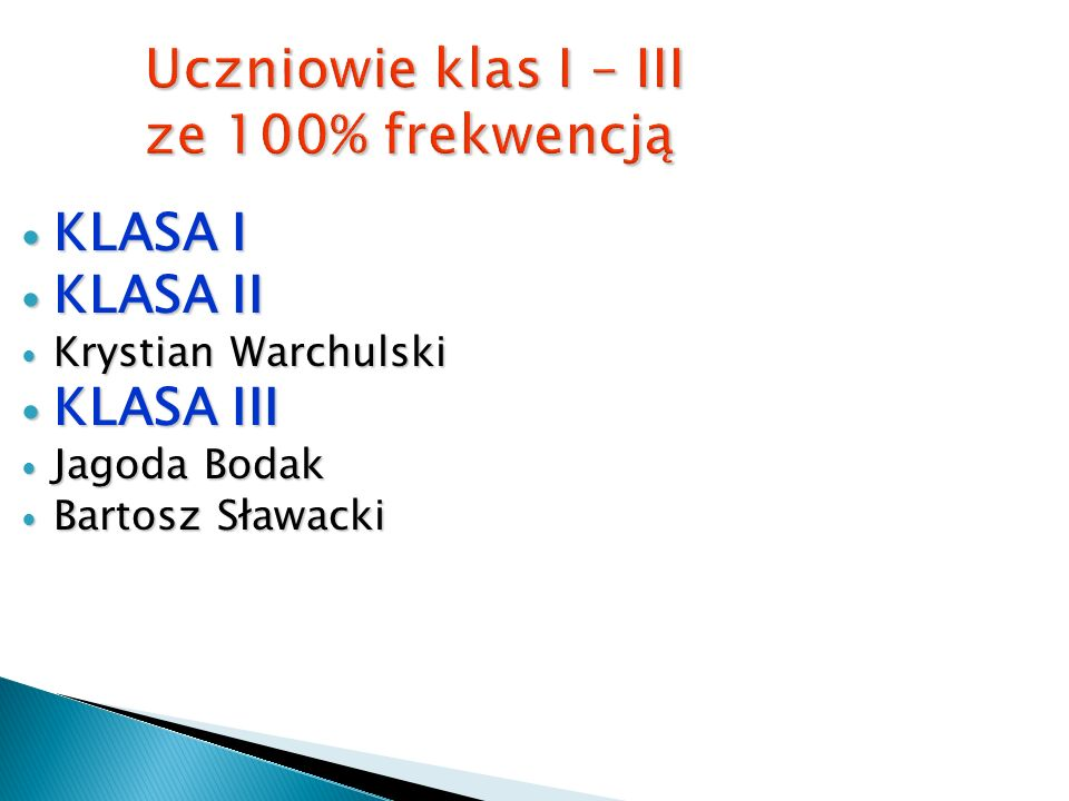 Uczniowie ze wzorowymi ocenami z zachowania KLASA PIĄTA: Weronika Pawlas Weronika Pawlas Kamil Mazurek Kamil Mazurek Nikola Lupa Nikola Lupa Martyna B