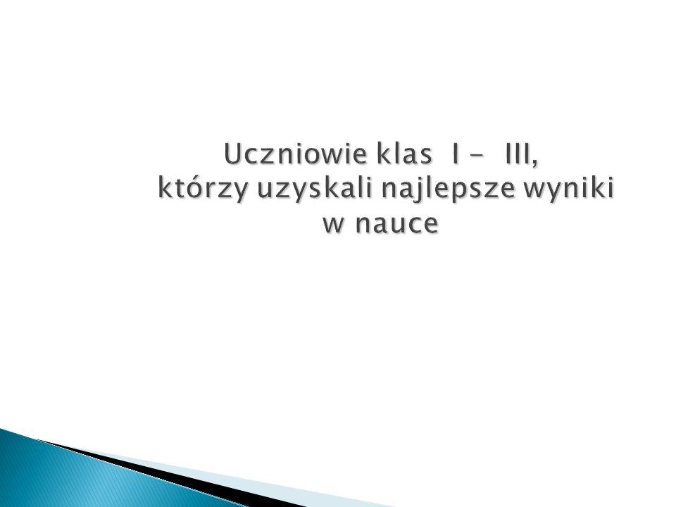 Uczniowie Szkoły Podstawowej w Łopienniku Dolnym, którzy osiągnęli najlepsze wyniki w nauce i w zachowaniu I semestr rok szkolny 2015/2016