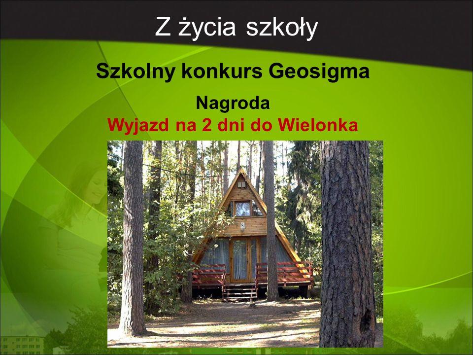 Z życia szkoły Szkolny konkurs Geosigma Nagroda Wyjazd na 2 dni do Wielonka