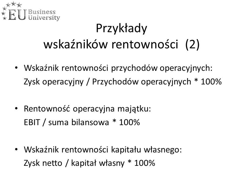 Przykłady wskaźników rentowności (2) Wskaźnik rentowności przychodów operacyjnych: Zysk operacyjny / Przychodów operacyjnych * 100% Rentowność operacyjna majątku: EBIT / suma bilansowa * 100% Wskaźnik rentowności kapitału własnego: Zysk netto / kapitał własny * 100%