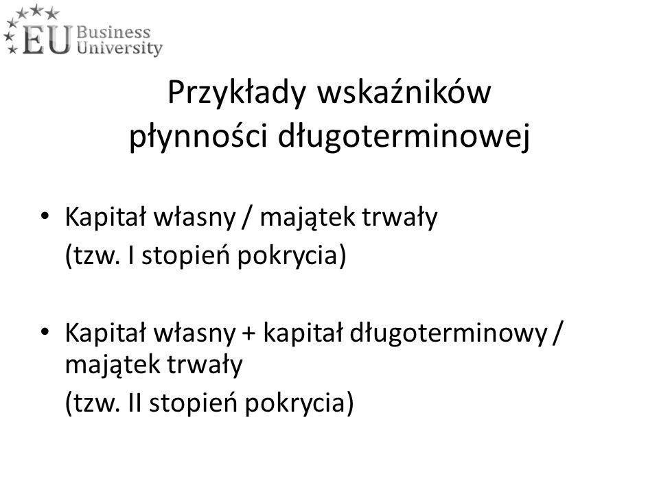 Przykłady wskaźników płynności długoterminowej Kapitał własny / majątek trwały (tzw.