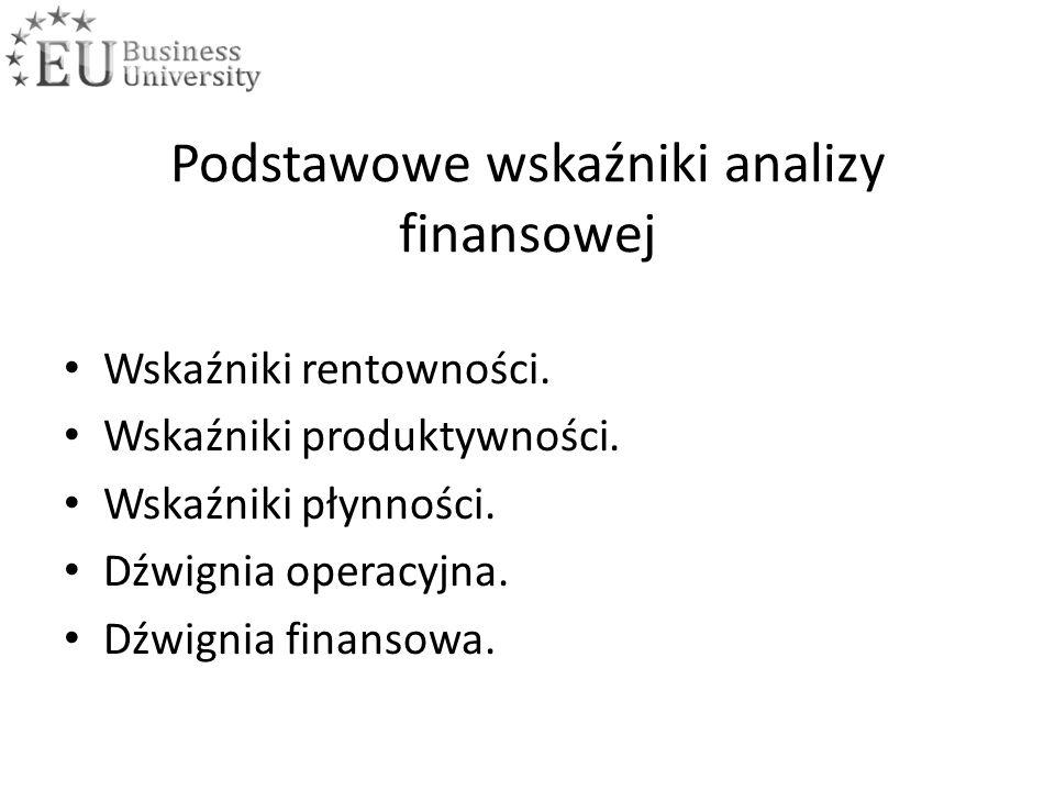 Podstawowe wskaźniki analizy finansowej Wskaźniki rentowności.