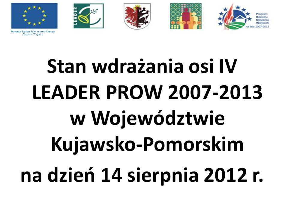 Stan wdrażania osi IV LEADER PROW 2007-2013 w Województwie Kujawsko-Pomorskim na dzień 14 sierpnia 2012 r. Europejski Fundusz Rolny na rzecz Rozwoju O