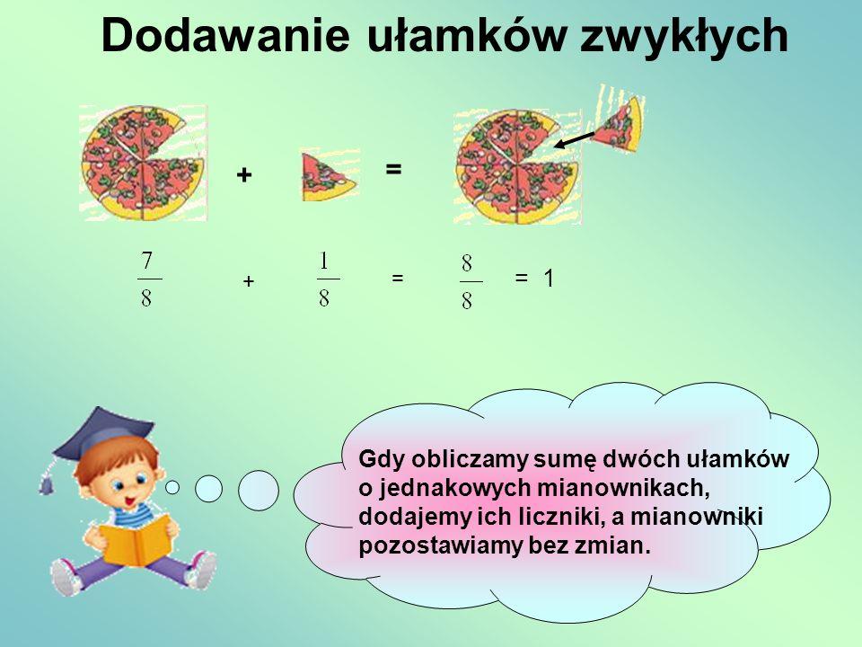 Dodawanie ułamków zwykłych + = + = = 1 Gdy obliczamy sumę dwóch ułamków o jednakowych mianownikach, dodajemy ich liczniki, a mianowniki pozostawiamy b