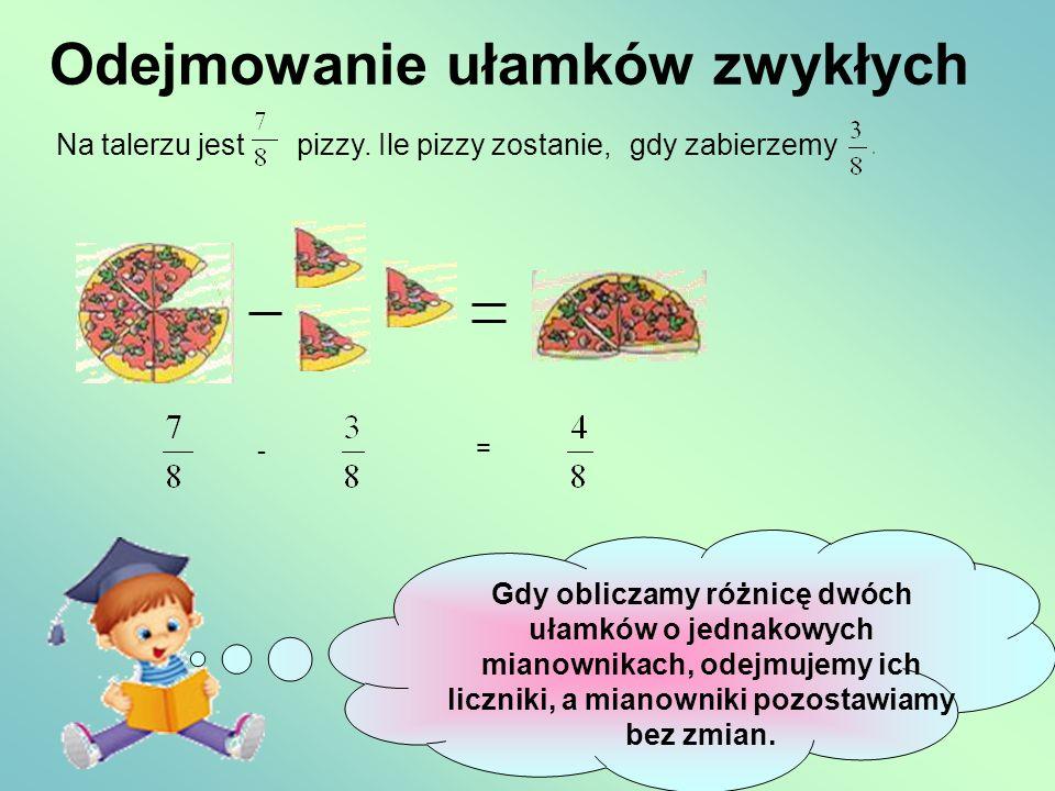 Odejmowanie ułamków zwykłych Na talerzu jestpizzy. Ile pizzy zostanie, - = Gdy obliczamy różnicę dwóch ułamków o jednakowych mianownikach, odejmujemy