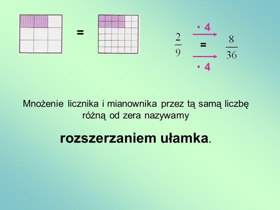 = = 4 4 Mnożenie licznika i mianownika przez tą samą liczbę różną od zera nazywamy rozszerzaniem ułamka.