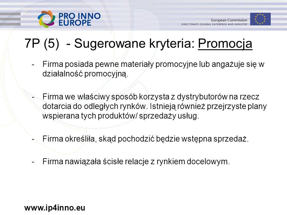 www.ip4inno.eu 7P (5) - Sugerowane kryteria: Promocja -Firma posiada pewne materiały promocyjne lub angażuje się w działalność promocyjną.