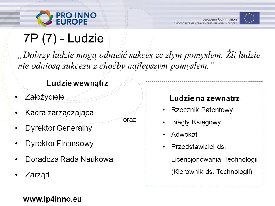 www.ip4inno.eu 7P (7) - Ludzie Ludzie wewnątrz Założyciele Kadra zarządzająca Dyrektor Generalny Dyrektor Finansowy Doradcza Rada Naukowa Zarząd Ludzie na zewnątrz Rzecznik Patentowy Biegły Księgowy Adwokat Przedstawiciel ds.