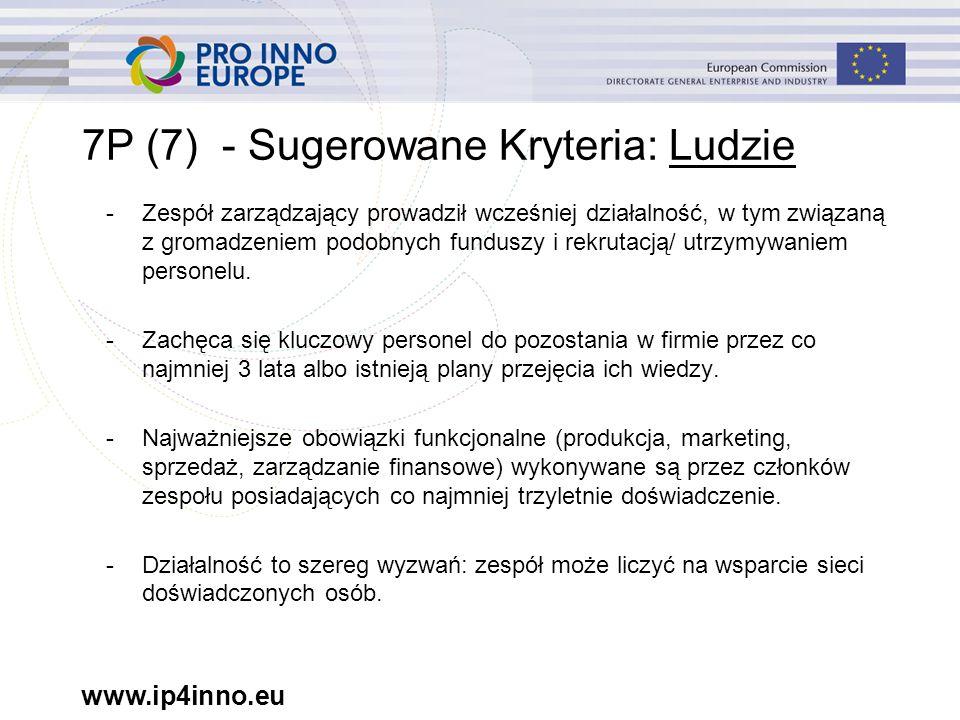 www.ip4inno.eu 7P (7) - Sugerowane Kryteria: Ludzie -Zespół zarządzający prowadził wcześniej działalność, w tym związaną z gromadzeniem podobnych funduszy i rekrutacją/ utrzymywaniem personelu.