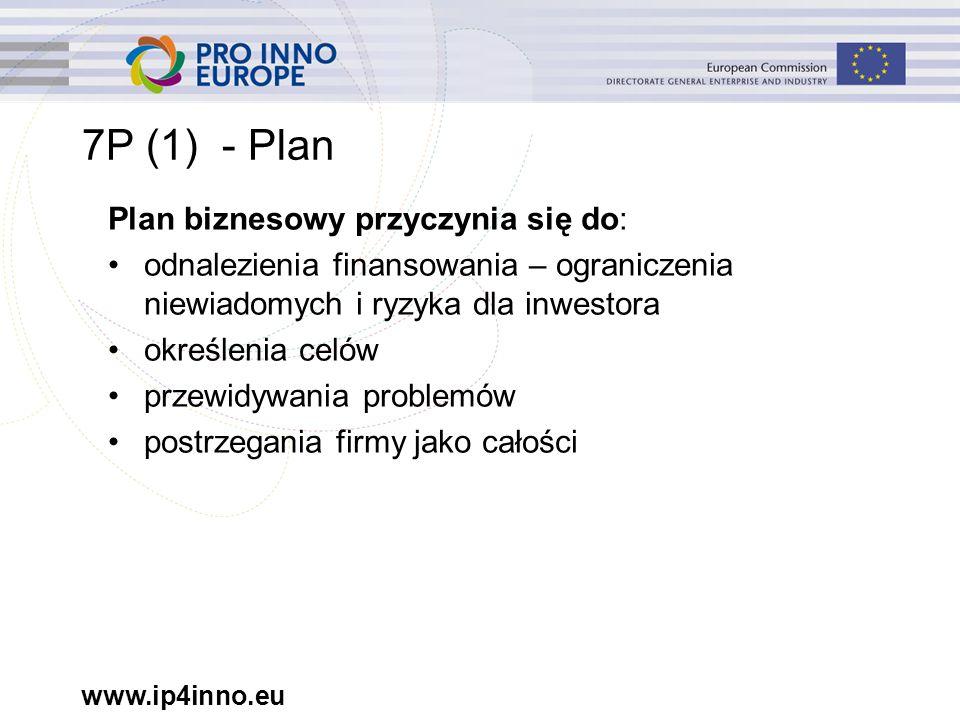 www.ip4inno.eu 7P (6) - Sugerowane kryteria: Ochrona -Firma posiada pewną formę ochrony pod postacią umów z dostawcami/ klientami lub praw własności intelektualnej -Firma posiada portfolio własności intelektualnej -Plan opisuje korzyści wynikające z własności intelektualnej dla użytkownika końcowego -Plan obejmuje konkurencyjną własność intelektualną