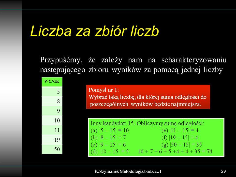 Liczba za zbiór liczb Przypuśćmy, że zależy nam na scharakteryzowaniu następującego zbioru wyników za pomocą jednej liczby K.Szymanek Metodologia bada