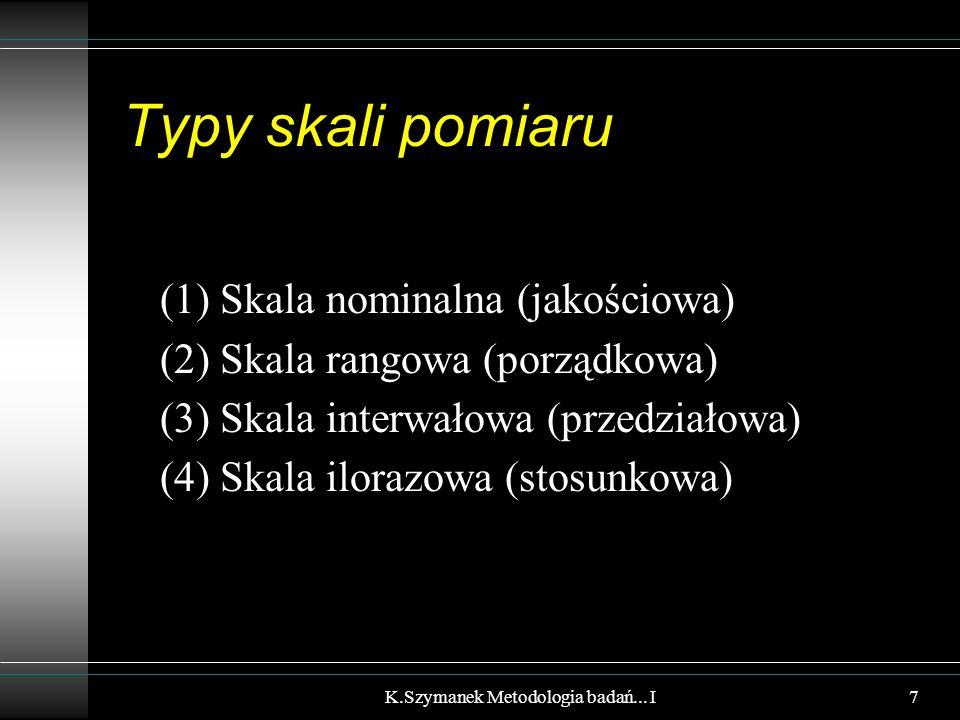 Typy skali pomiaru (1) Skala nominalna (jakościowa) (2) Skala rangowa (porządkowa) (3) Skala interwałowa (przedziałowa) (4) Skala ilorazowa (stosunkowa) K.Szymanek Metodologia badań...