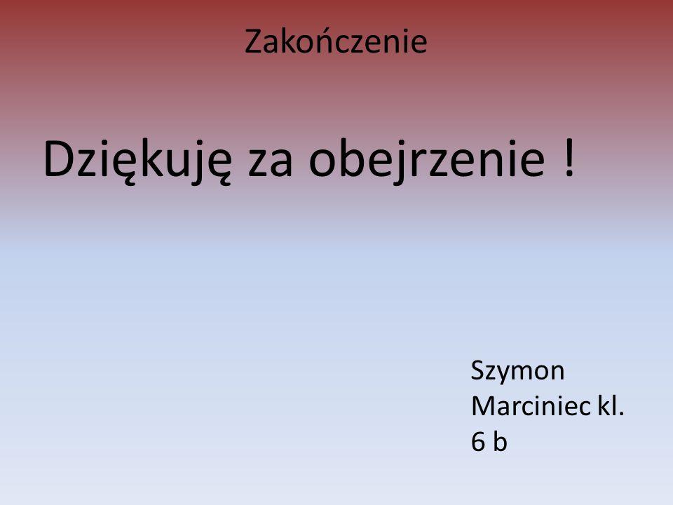 Zakończenie Dziękuję za obejrzenie ! Szymon Marciniec kl. 6 b