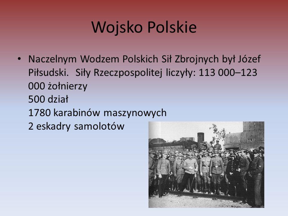 Wojsko Polskie Naczelnym Wodzem Polskich Sił Zbrojnych był Józef Piłsudski.