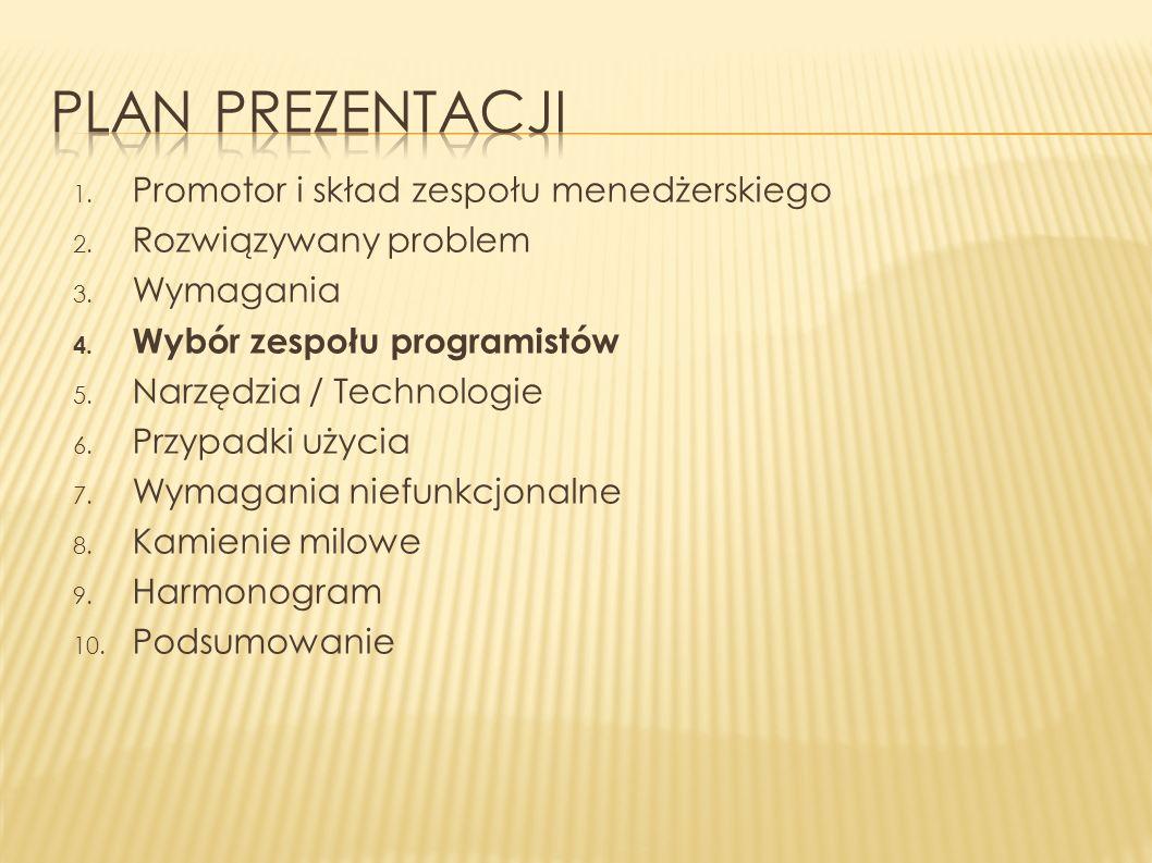 1. Promotor i skład zespołu menedżerskiego 2. Rozwiązywany problem 3. Wymagania 4. Wybór zespołu programistów 5. Narzędzia / Technologie 6. Przypadki