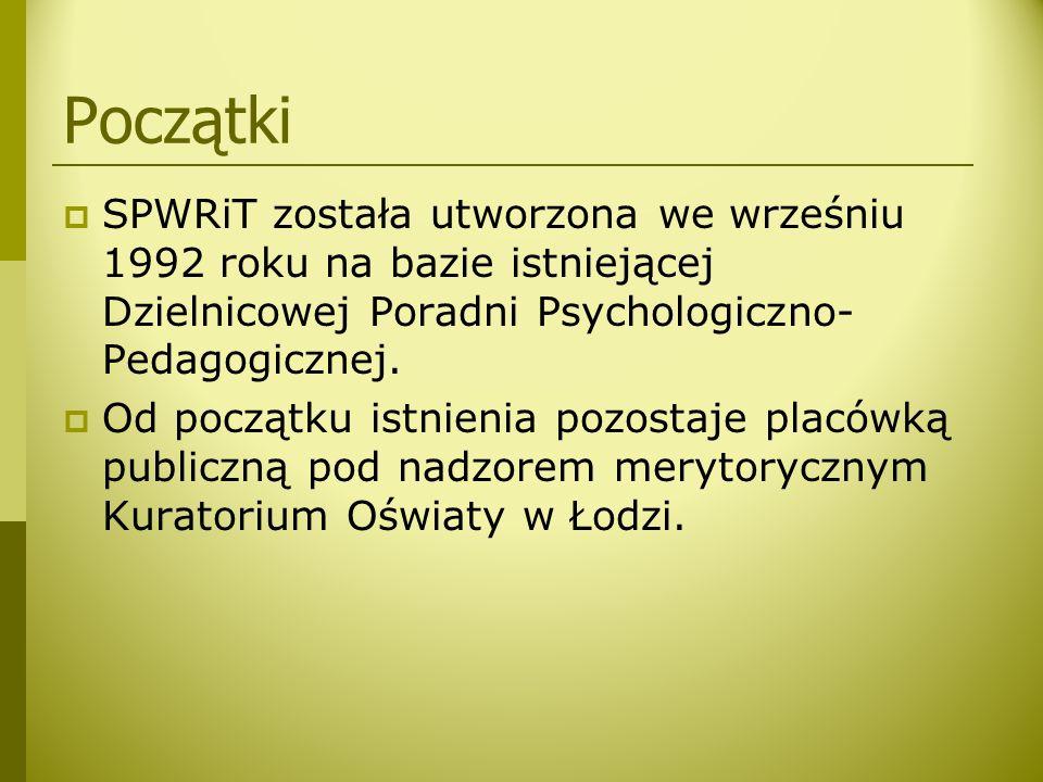 Początki  SPWRiT została utworzona we wrześniu 1992 roku na bazie istniejącej Dzielnicowej Poradni Psychologiczno- Pedagogicznej.  Od początku istni