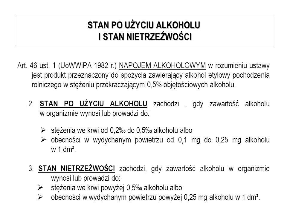 STAN PO UŻYCIU ALKOHOLU I STAN NIETRZEŹWOŚCI Art. 46 ust. 1 (UoWWiPA-1982 r.) NAPOJEM ALKOHOLOWYM w rozumieniu ustawy jest produkt przeznaczony do spo