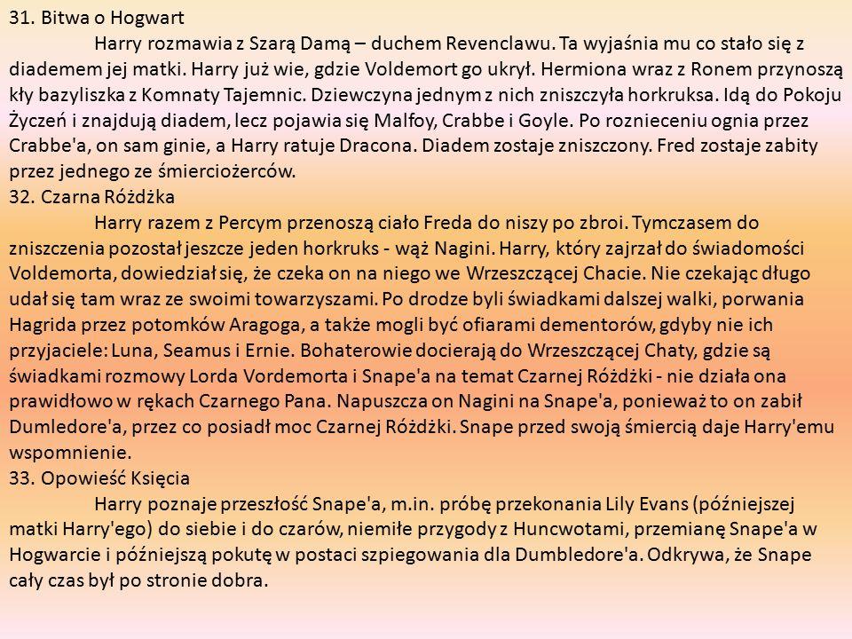 31. Bitwa o Hogwart Harry rozmawia z Szarą Damą – duchem Revenclawu.