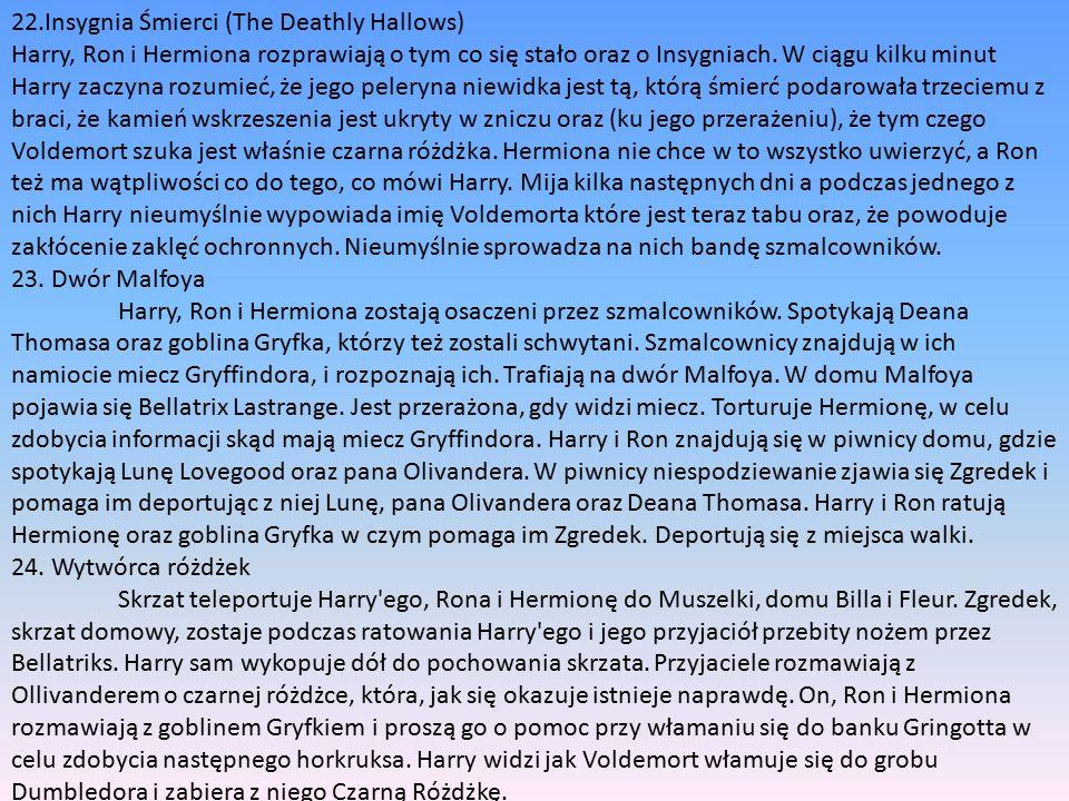 22.Insygnia Śmierci (The Deathly Hallows) Harry, Ron i Hermiona rozprawiają o tym co się stało oraz o Insygniach.