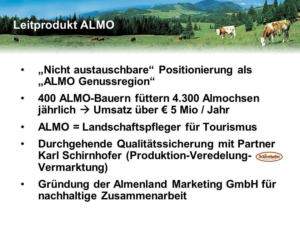 """""""Nicht austauschbare Positionierung als """"ALMO Genussregion 400 ALMO-Bauern füttern 4.300 Almochsen jährlich  Umsatz über € 5 Mio / Jahr ALMO = Landschaftspfleger für Tourismus Durchgehende Qualitätssicherung mit Partner Karl Schirnhofer (Produktion-Veredelung- Vermarktung) Gründung der Almenland Marketing GmbH für nachhaltige Zusammenarbeit Leitprodukt ALMO"""
