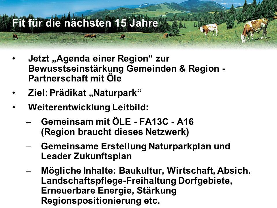 """Jetzt """"Agenda einer Region zur Bewusstseinstärkung Gemeinden & Region - Partnerschaft mit Öle Ziel: Prädikat """"Naturpark Weiterentwicklung Leitbild: –Gemeinsam mit ÖLE - FA13C - A16 (Region braucht dieses Netzwerk) –Gemeinsame Erstellung Naturparkplan und Leader Zukunftsplan –Mögliche Inhalte: Baukultur, Wirtschaft, Absich."""