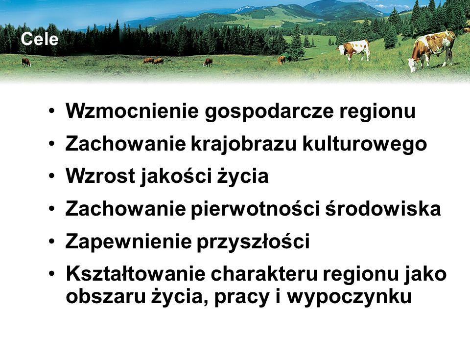 Wzmocnienie gospodarcze regionu Zachowanie krajobrazu kulturowego Wzrost jakości życia Zachowanie pierwotności środowiska Zapewnienie przyszłości Kształtowanie charakteru regionu jako obszaru życia, pracy i wypoczynku Cele