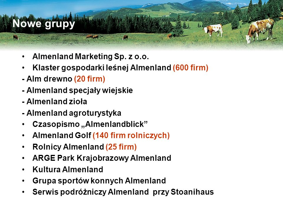Nowe grupy Almenland Marketing Sp. z o.o.