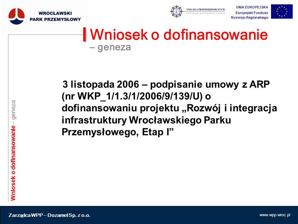 """3 listopada 2006 – podpisanie umowy z ARP (nr WKP_1/1.3/1/2006/9/139/U) o dofinansowaniu projektu """"Rozwój i integracja infrastruktury Wrocławskiego Pa"""