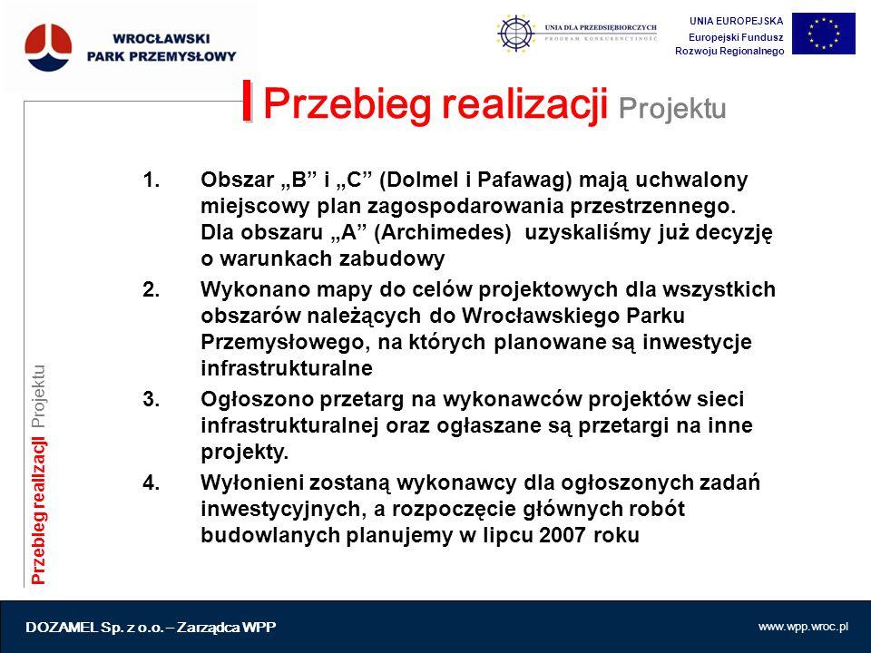 """www.wpp.wroc.pl Przebieg realizacji Projektu 1.Obszar """"B"""" i """"C"""" (Dolmel i Pafawag) mają uchwalony miejscowy plan zagospodarowania przestrzennego. Dla"""