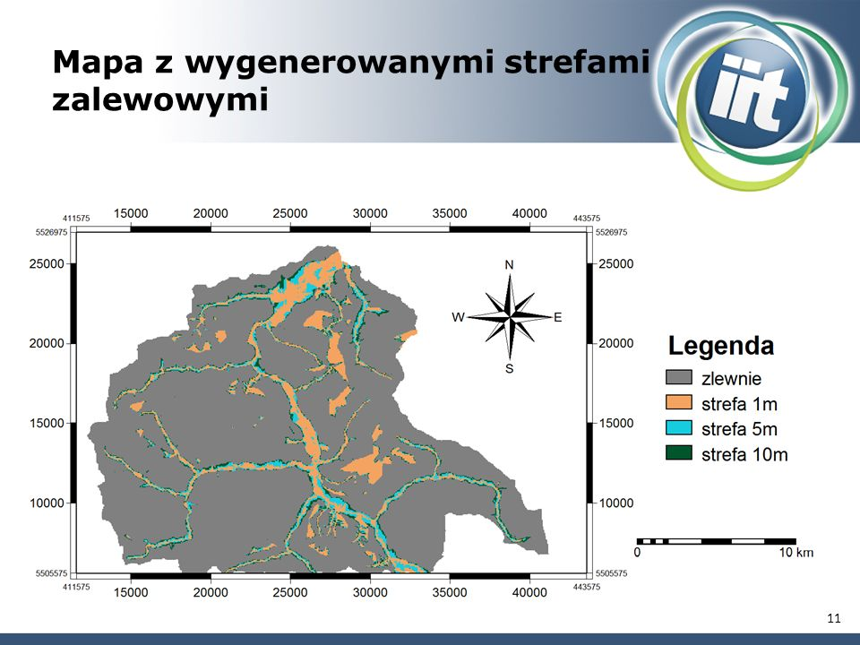 Mapa z wygenerowanymi strefami zalewowymi 11