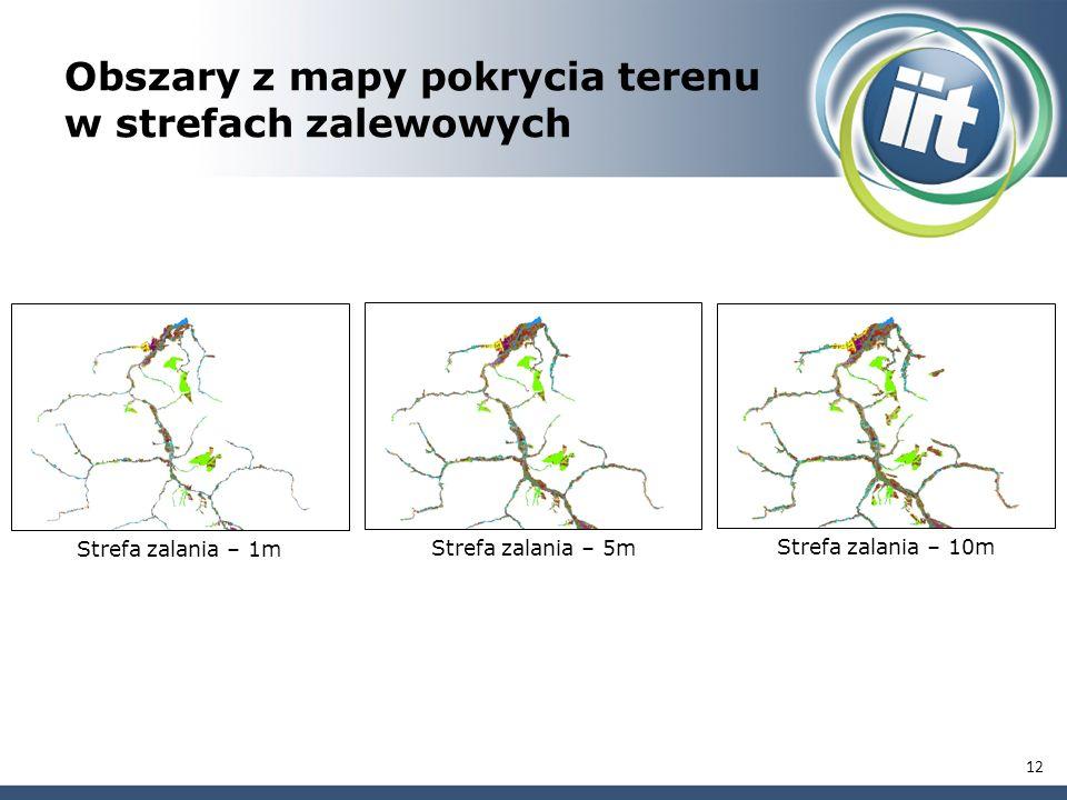 Obszary z mapy pokrycia terenu w strefach zalewowych Strefa zalania – 1m Strefa zalania – 5m Strefa zalania – 10m 12