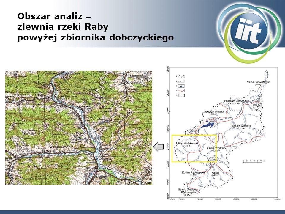 Obszar analiz – zlewnia rzeki Raby powyżej zbiornika dobczyckiego