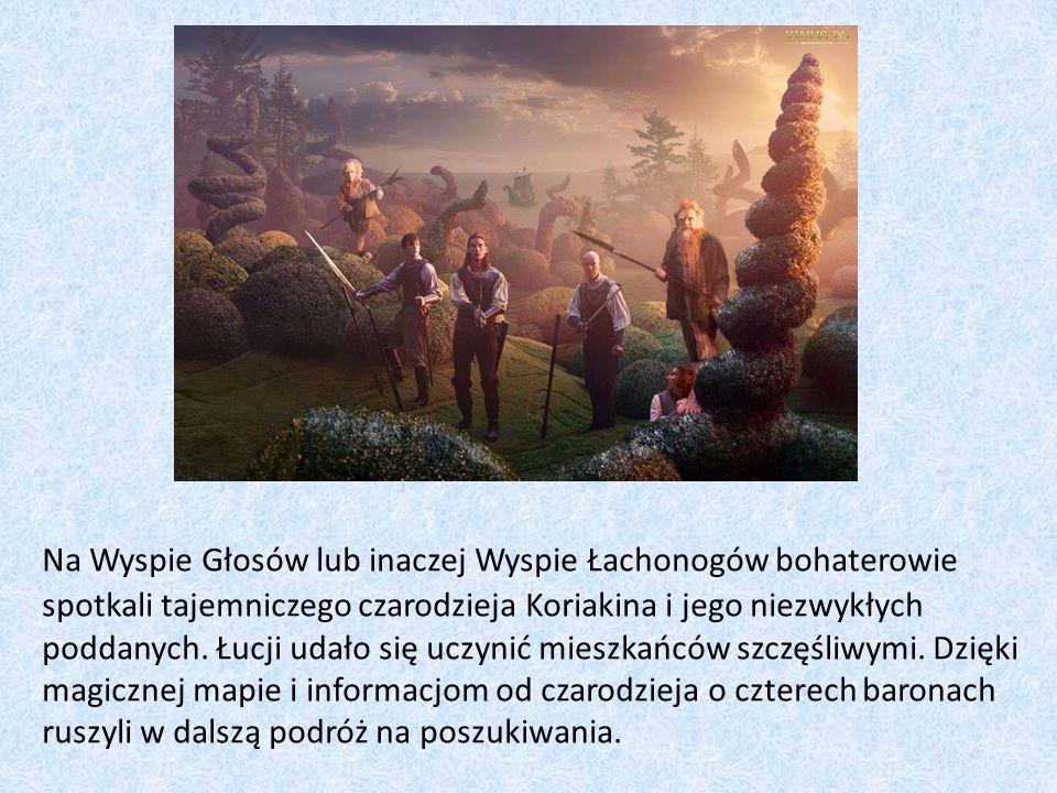 Na Wyspie Głosów lub inaczej Wyspie Łachonogów bohaterowie spotkali tajemniczego czarodzieja Koriakina i jego niezwykłych poddanych.