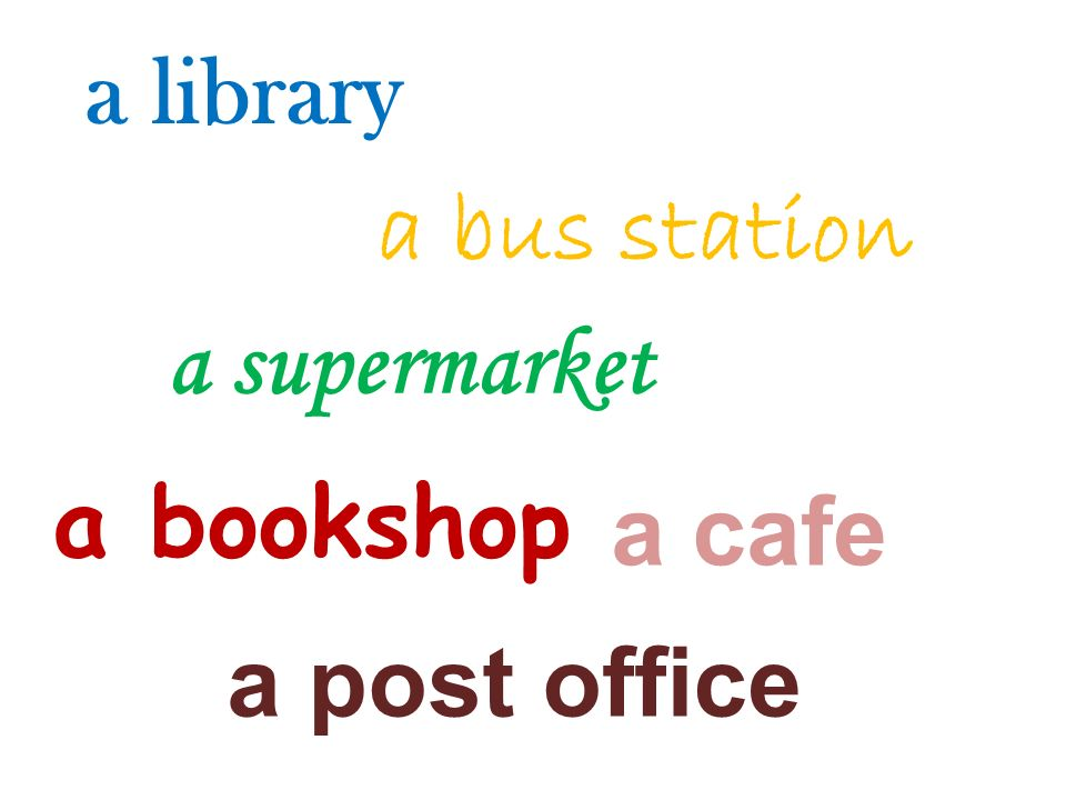 a library a bookshop a supermarket a bus station a post office a cafe