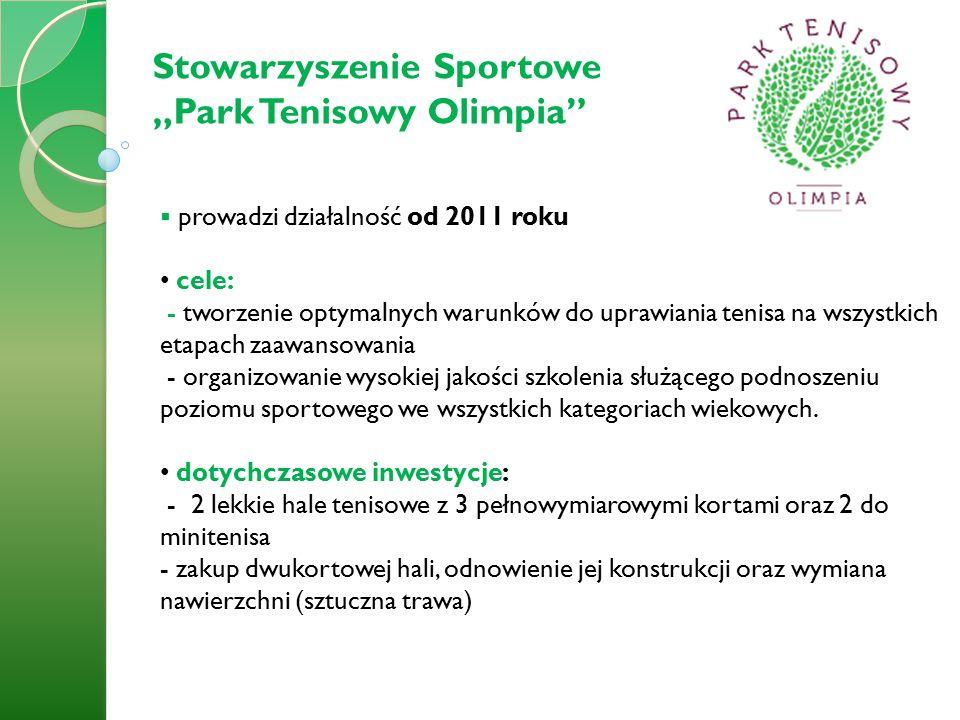  prowadzi działalność od 2011 roku cele: - tworzenie optymalnych warunków do uprawiania tenisa na wszystkich etapach zaawansowania - organizowanie wysokiej jakości szkolenia służącego podnoszeniu poziomu sportowego we wszystkich kategoriach wiekowych.