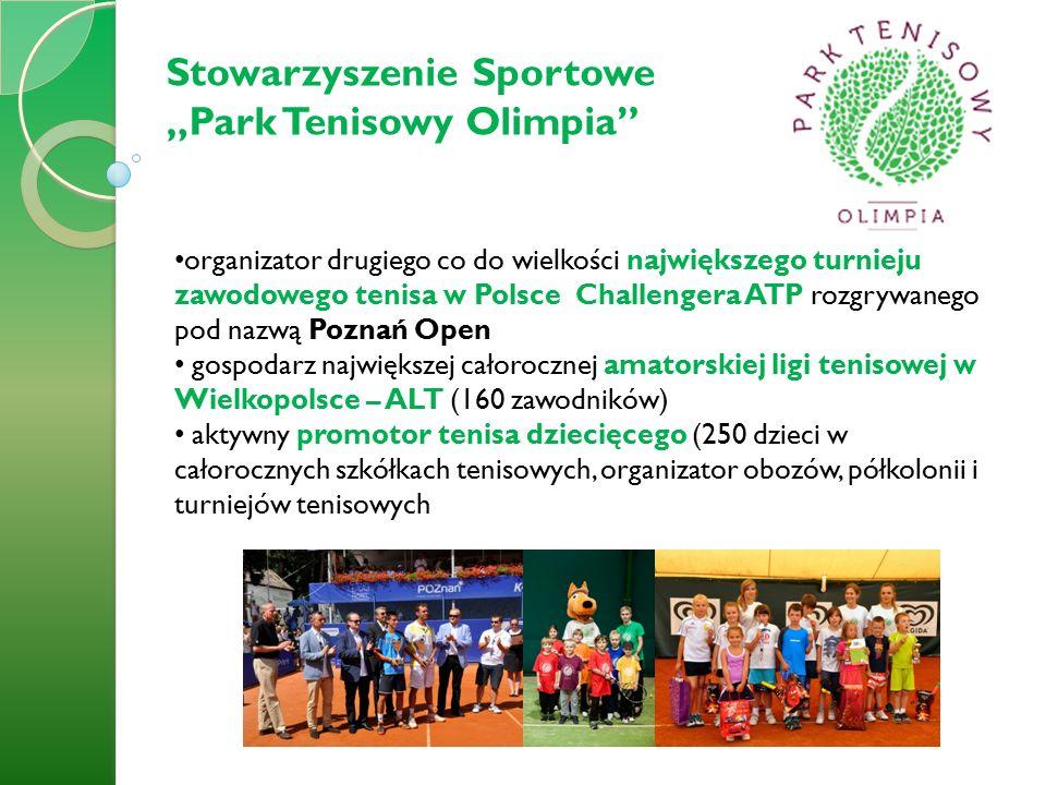 """Stowarzyszenie Sportowe """"Park Tenisowy Olimpia organizator drugiego co do wielkości największego turnieju zawodowego tenisa w Polsce Challengera ATP rozgrywanego pod nazwą Poznań Open gospodarz największej całorocznej amatorskiej ligi tenisowej w Wielkopolsce – ALT (160 zawodników) aktywny promotor tenisa dziecięcego (250 dzieci w całorocznych szkółkach tenisowych, organizator obozów, półkolonii i turniejów tenisowych"""