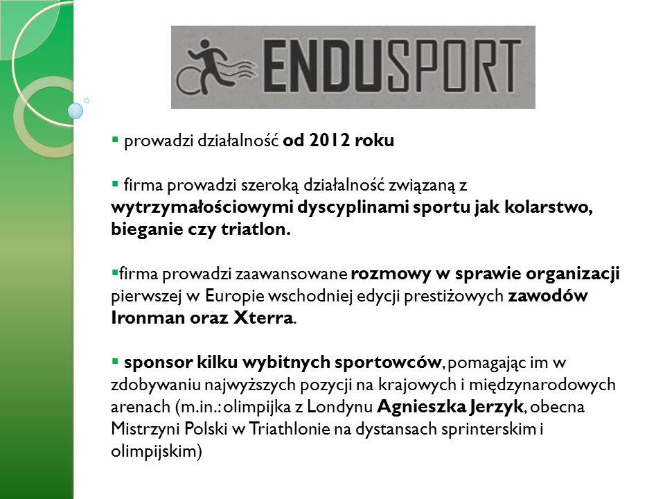  prowadzi działalność od 2012 roku  firma prowadzi szeroką działalność związaną z wytrzymałościowymi dyscyplinami sportu jak kolarstwo, bieganie czy