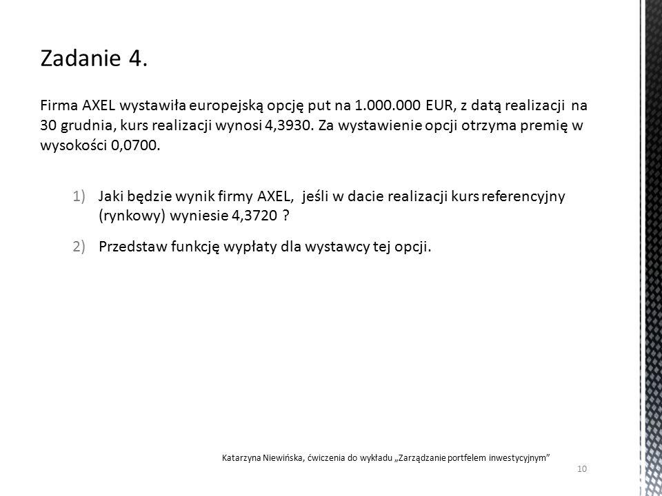 Firma AXEL wystawiła europejską opcję put na 1.000.000 EUR, z datą realizacji na 30 grudnia, kurs realizacji wynosi 4,3930.