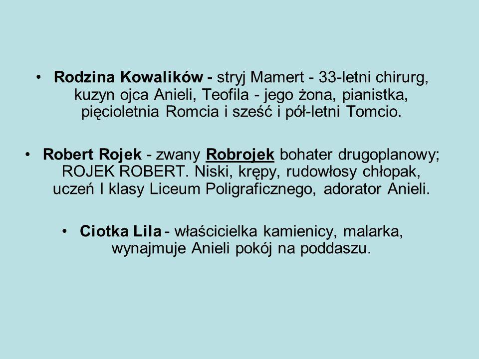 BOHAREROWIE Aniela Kowalik - bohaterka główna, tytułowa kłamczucha , 15- letnia, drobna, czarnowłosa dziewczyna.