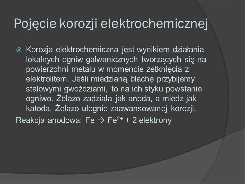 Pojęcie korozji elektrochemicznej  Korozja elektrochemiczna jest wynikiem działania lokalnych ogniw galwanicznych tworzących się na powierzchni metalu w momencie zetknięcia z elektrolitem.