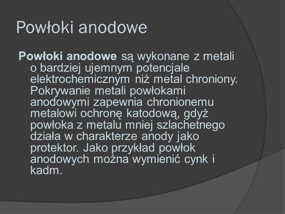 Powłoki anodowe Powłoki anodowe są wykonane z metali o bardziej ujemnym potencjale elektrochemicznym niż metal chroniony.