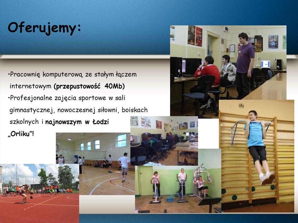 Oferujemy: Pracownię komputerową ze stałym łączem internetowym (przepustowość 40Mb) Profesjonalne zajęcia sportowe w sali gimnastycznej, nowoczesnej s