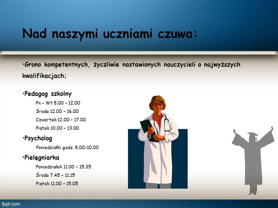 Nad naszymi uczniami czuwa: Grono kompetentnych, życzliwie nastawionych nauczycieli o najwyższych kwalifikacjach; Pedagog szkolny Pn – Wt 8.00 – 12.00