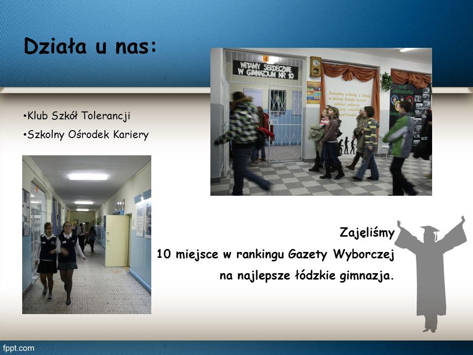 Działa u nas: Klub Szkół Tolerancji Szkolny Ośrodek Kariery Zajęliśmy 10 miejsce w rankingu Gazety Wyborczej na najlepsze łódzkie gimnazja.