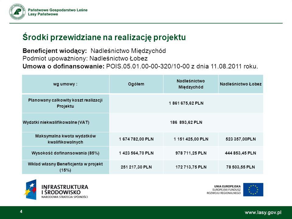 4 Środki przewidziane na realizację projektu wg umowy :Ogółem Nadleśnictwo Międzychód Nadleśnictwo Łobez Planowany całkowity koszt realizacji Projektu 1 861 675,62 PLN Wydatki niekwalifikowalne (VAT)186 893,62 PLN Maksymalna kwota wydatków kwalifikowalnych 1 674 782,00 PLN1 151 425,00 PLN523 357,00PLN Wysokość dofinansowania (85%)1 423 564,70 PLN978 711,25 PLN444 853,45 PLN Wkład własny Beneficjenta w projekt (15%) 251 217,30 PLN172 713,75 PLN78 503,55 PLN Beneficjent wiodący: Nadleśnictwo Międzychód Podmiot upoważniony: Nadleśnictwo Łobez Umowa o dofinansowanie: POIS.05.01.00-00-320/10-00 z dnia 11.08.2011 roku.