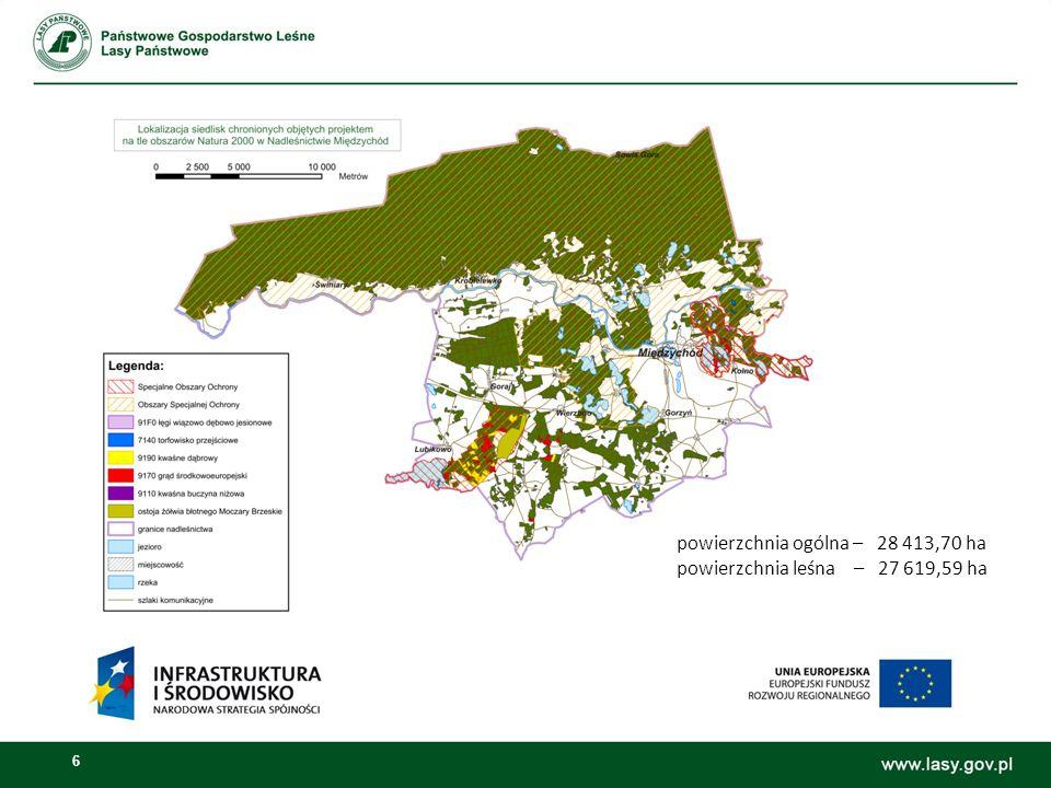 6 powierzchnia ogólna – 28 413,70 ha powierzchnia leśna – 27 619,59 ha